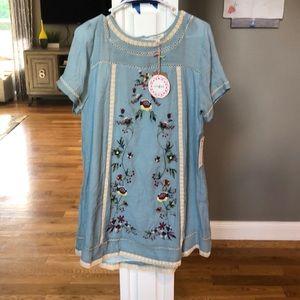 Umgee gauze like (lined) cotton dress